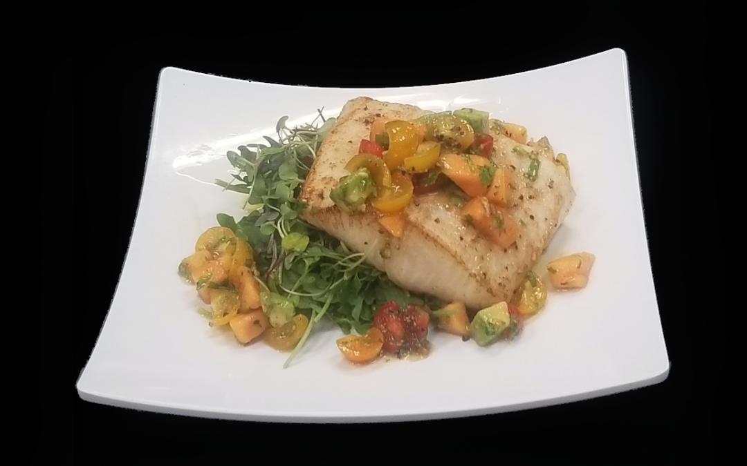 Grilled Wild Halibut Fillet Topped with Papaya, Avocado and Heirloom Salsa
