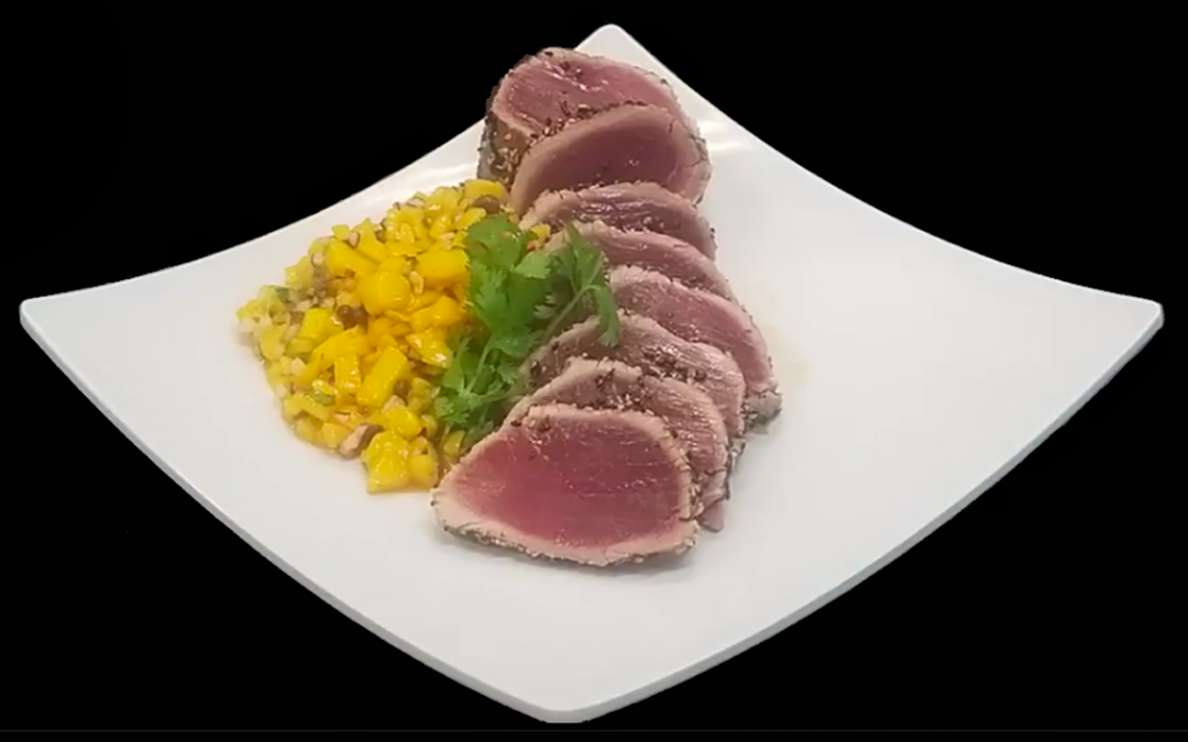 Crusted Ahi Tuna with Ripe Mango Relish
