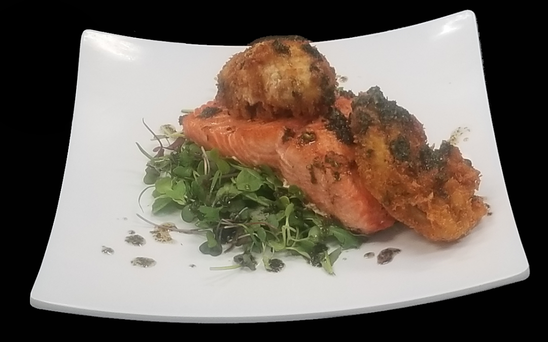 Grilled Wild Local King Salmon with Pan-Fried Pacific Oysters Topped with Sweet Butter Scampi